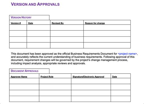 business requirements document templates
