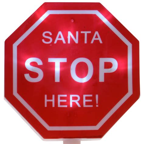 4 x light up quot santa stop here quot red white outdoor signs christmas decortion