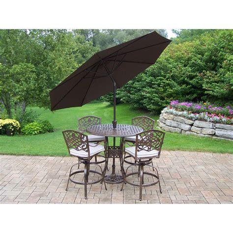patio set with umbrella oakland living elite mississippi cast aluminum 5