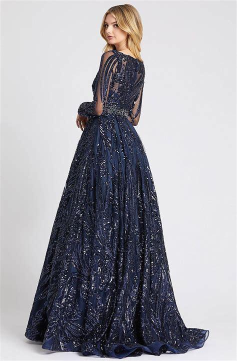 Mac Duggal Ballgowns - 67113H Embellished Long Sleeve V ...