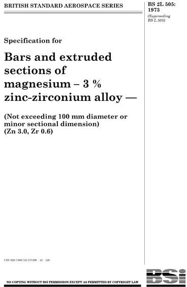 BS 2L 505:1973 - Specification for bars and extruded
