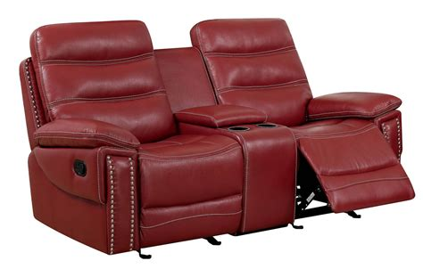 Leather Reclining Loveseat With Center Console by Artemis Contemporary Faux Leather Reclining Loveseat