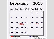 February 2018 Calendar With Holidays 2018 calendar with