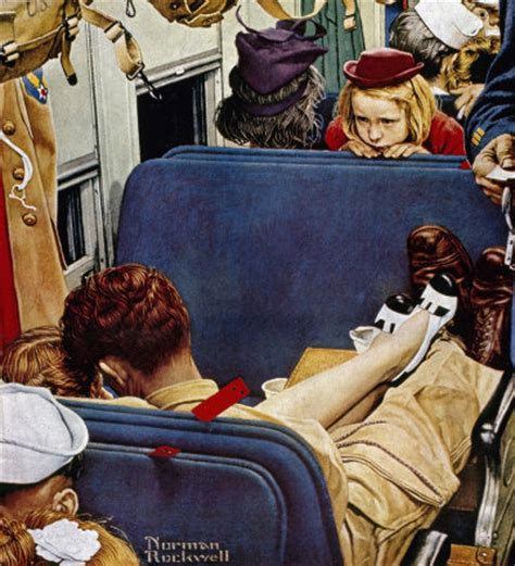 girl observing lovers   train norman rockwell