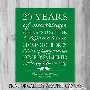20th anniversary gift 20 year anniversary gift canvas With gifts for 20th wedding anniversary