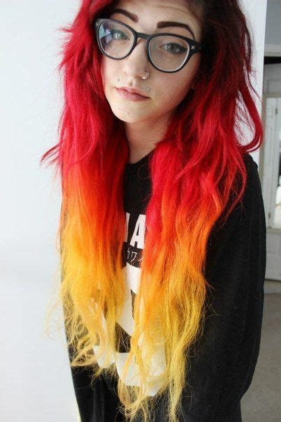 Black And Yellow Hair Color by Black Roots To Orange Yellow Ombre Grunge