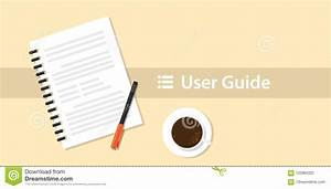 A User Guide Manual Book On Top Of Table Desk Stock