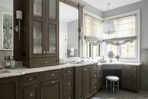 Brown oak bathroom cabinets with corner makeup vanity for Making a bathroom cabinet