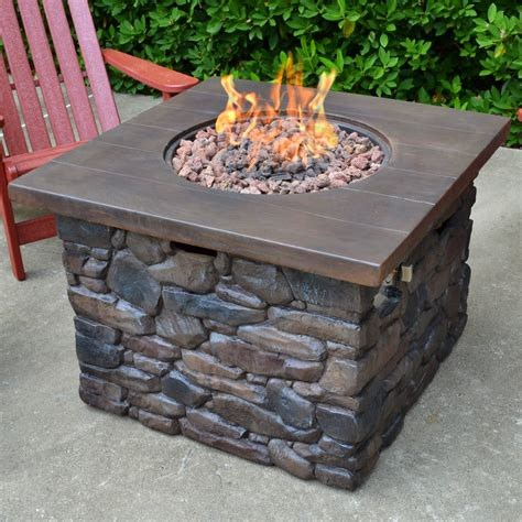 patio propane fire pit table tortuga outdoor yosemite faux wood stone propane fire pit