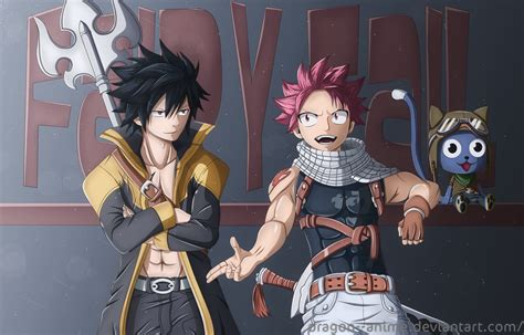 natsu gray happy fairy tail  dragon anime