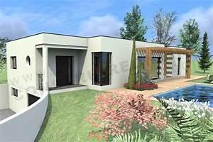 plan de maison contemporaine boxtobox With lovely maison toit plat en l 0 maison neuve avec piscine toit plat
