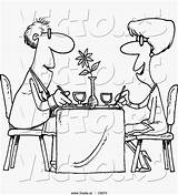 Restaurant Cartoon Couple Dining Outlined Coloring Vector Sheet sketch template