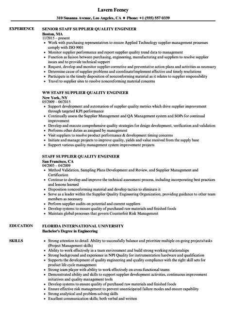 staff supplier quality engineer resume samples velvet jobs
