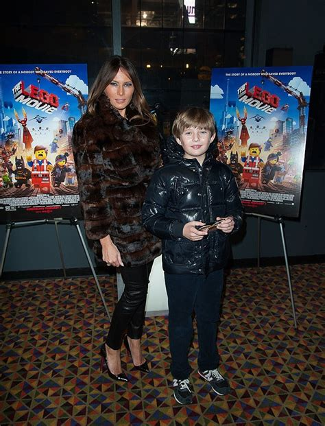 trump melania barron lego fur coat movie roadshow village warner bros donald son attends looks stylebistro zimbio screening youngest kotinsky