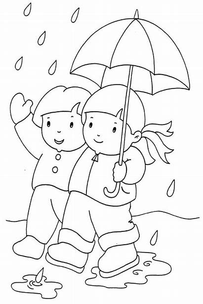 Coloring Pages Rainy Rain Outside Wet Drawing