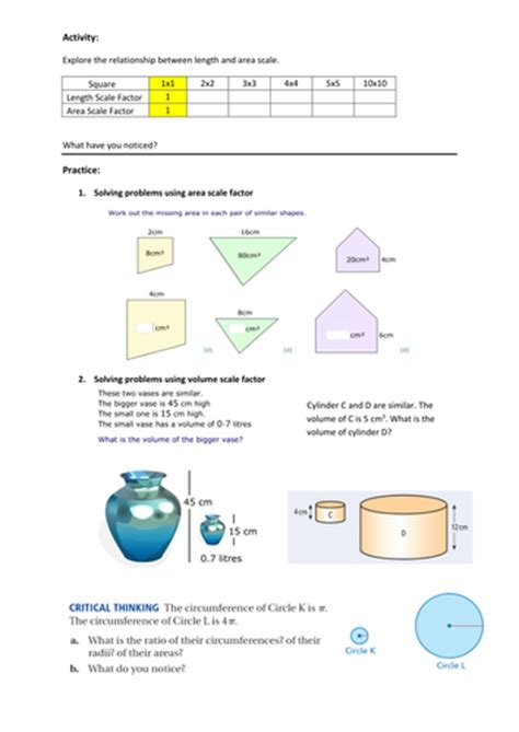 Ratio Of Length, Area And Volume Of Similar Shapes By