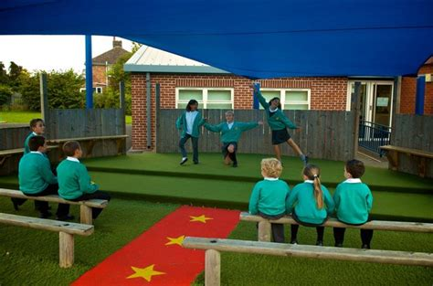 outdoor performance stage  schools pentagon play