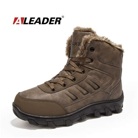 aleader winter work boots men casual outdoor snow boots