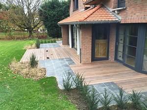 Terrasse Ardoise Bois Mouvaux Architecte Paysagiste 59
