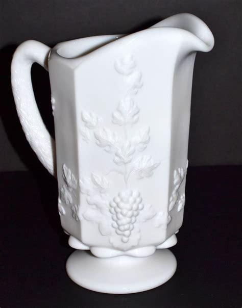 westmoreland milk glass westmoreland paneled grape milk glass pitcher sold ruby lane