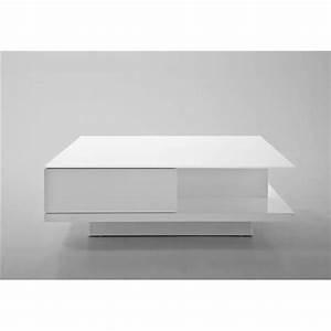 Table Basse Avec Tiroir : table basse blanche tiroir table de salon bois et metal maisonjoffrois ~ Teatrodelosmanantiales.com Idées de Décoration