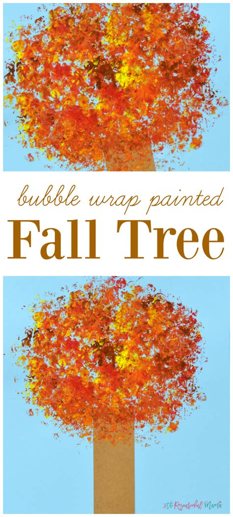 bubble wrap painted fall tree kid craft  resourceful mama