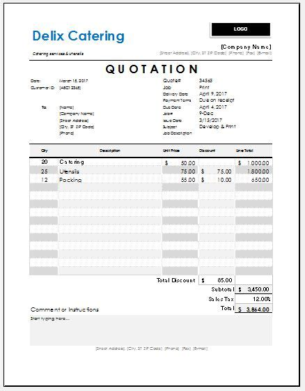 catering quotation templates  ms excel excel templates