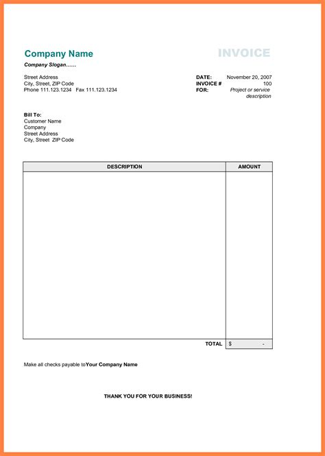 printable business invoice template invoice format