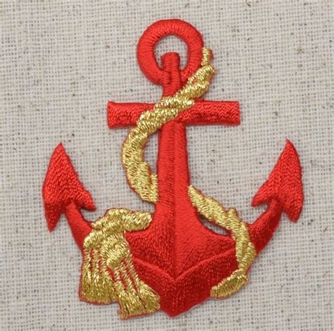 gold applique iron on embroidered applique patch nautical ship