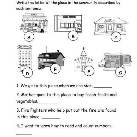 esl community worksheets map  kindergarten