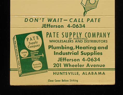 plumbing supply huntsville al 1950s billboard matchbook pate supply company plumbing
