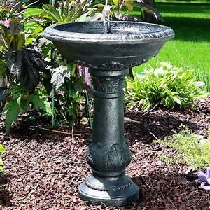 Outdoor Oasis Solar Bird Bath Fountain w/ Battery Back-up