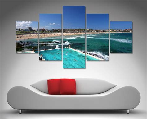 Wall Art Canvas Print Wine Old Winery Cellar Barrels: Bondi Beach 5 Panel Wall Art