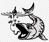 Fish Koi Coloring Hook Vector Clipart sketch template