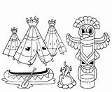 Totem Coloring Vector Illustration Poles Indian Pole Native Pages American Netart sketch template