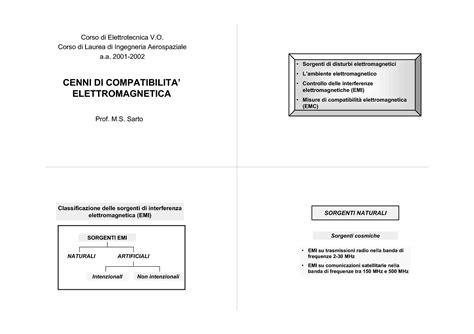 Dispensa Elettrotecnica by Compatibilit 224 Elettromagnetica Cenni Introduttivi Dispense