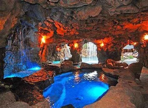 cave room  swimming pool  waterfalls drake snags