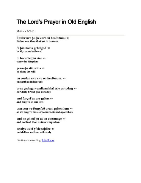 The Lord S Prayer In Old English Tattoo Images | Lord's prayer, The lords prayer
