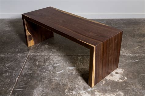using a bench as a coffee table city trees furniture walnut waterfall bench or coffee table