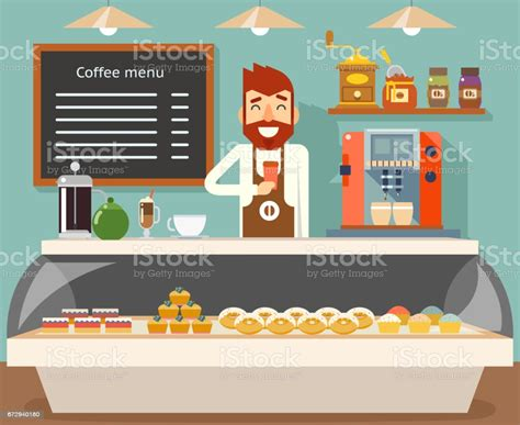 Armada, constantly financing coffee machines or complete coffee shop fit outs. Coffee Shop Interior Seller Bakery Taste Sweets Flat ...