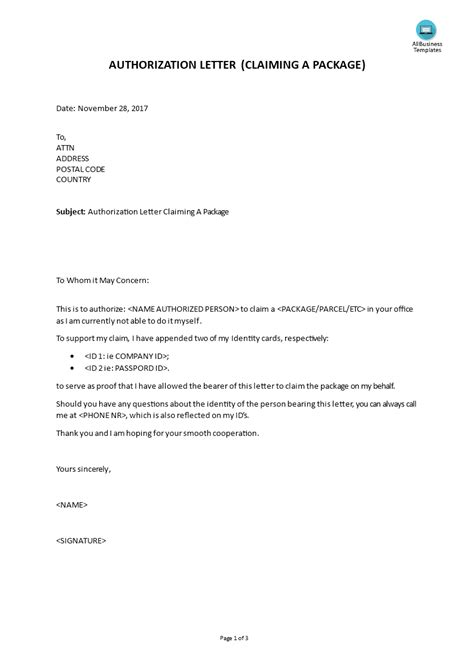 authorization letter claiming  package
