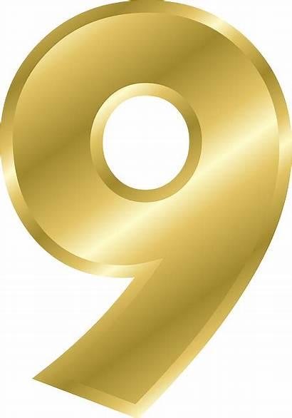 Number Letter Transparent Gold Numbers Vector Number9