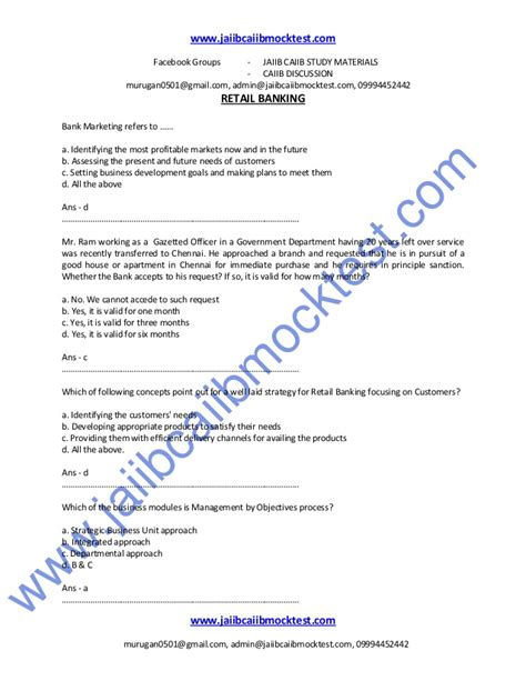 Retail Questions by Caiib Retail Banking Sle Questions By Murugan