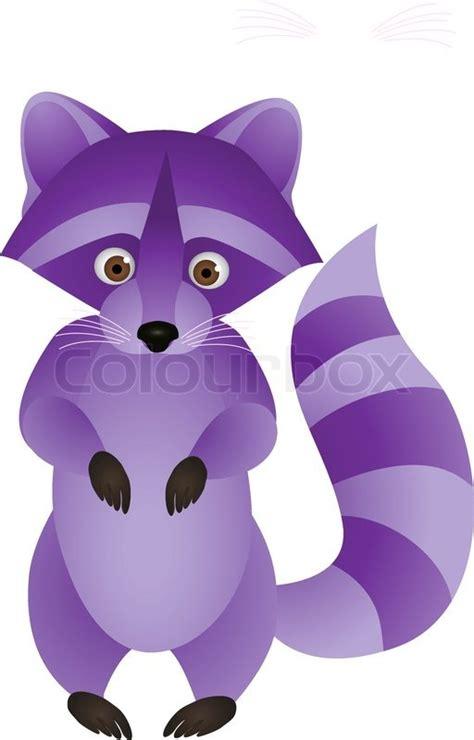 purple raccoon cartoon stock vector colourbox