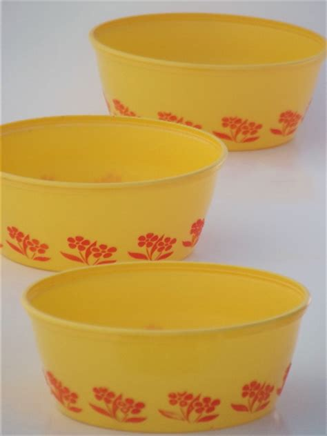vintage plastic margarine tub bowls red yellow gold