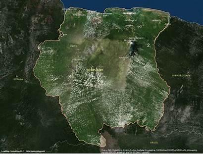 Satellite Suriname Map Maps Paramaribo