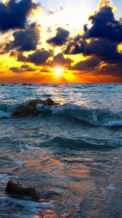 Sunset Stones Sea Surf Wallpapers Desktop Waves