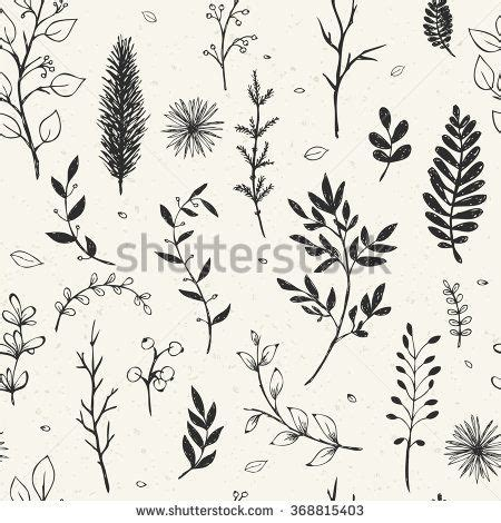 seamless pattern  hand drawn branches elegant floral