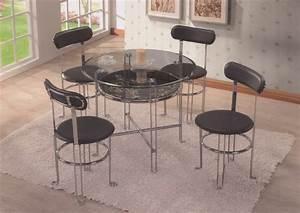 Table Avec 4 Chaises : table manger ronde vitr e avec 4 chaises en simili cuir ~ Teatrodelosmanantiales.com Idées de Décoration
