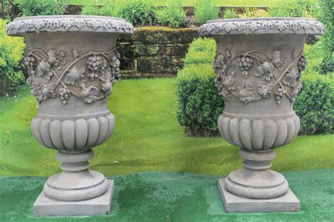 Two Beautiful Stone Antique Style Vine Urns Garden